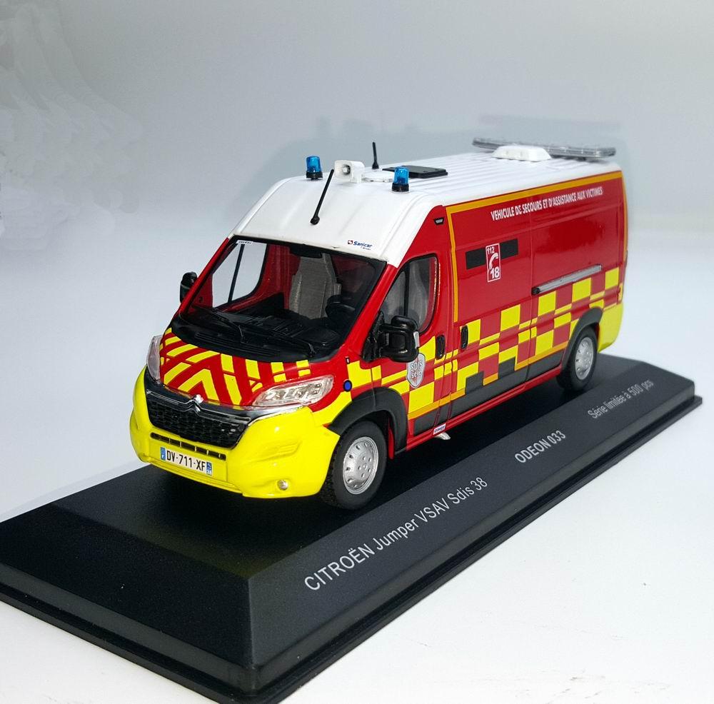 Miniature CITROEN Jumper Pompiers VSAV SDIS 38  Sapeurs Pompiers GRIMP SDIS 62 1/43