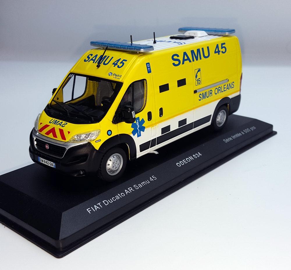 Miniature Ambulance FIAT Ducato SAMU 45 Loiret SMUR ORLEANS 1/43 Odeon