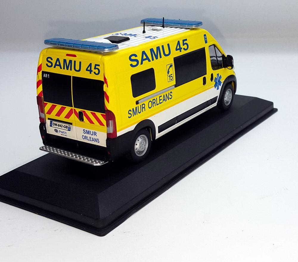 Miniature Ambulance FIAT Ducato SAMU 45 SMUR ORLEANS 1/43
