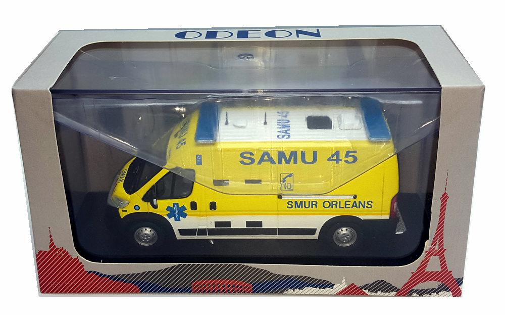 Miniature Ambulence FIAT Ducato SAMU 45 SMUR ORLEANS 1/43 Alarme