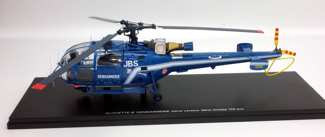 Maquette Hélicoptère ALOUETTE 3 SA316 Gendarmerie Nationale Immatriculé 1/43