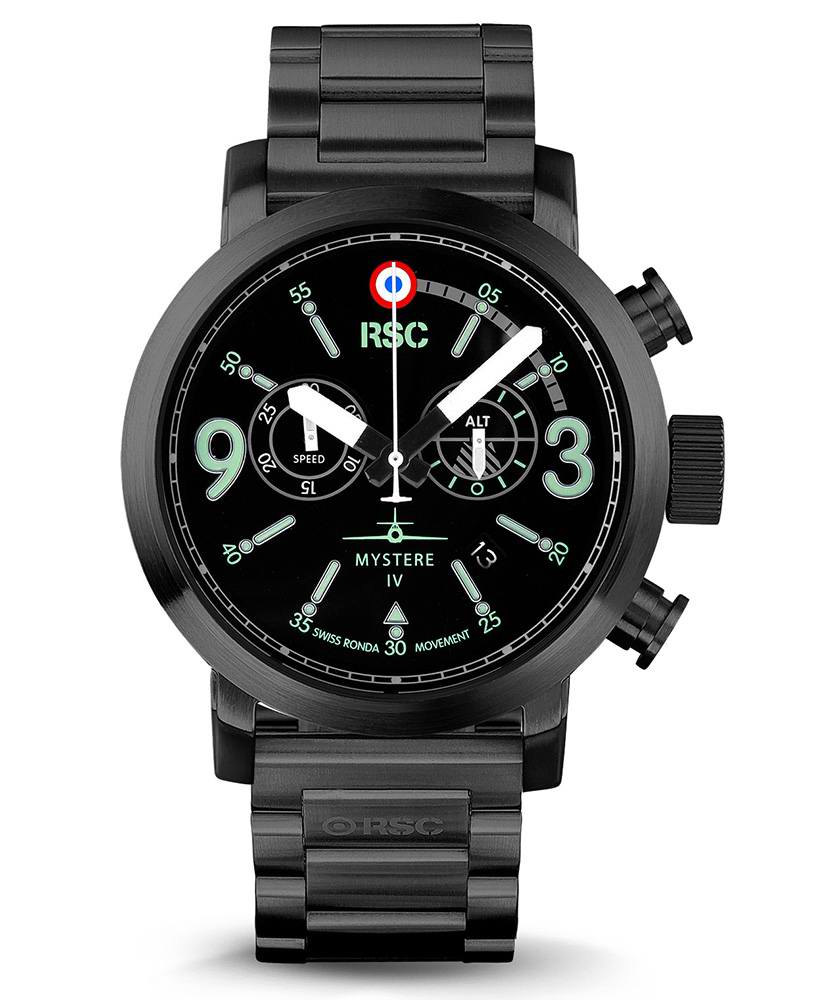 Montre Aviateur Noir Chronomètre Mystere IV RSC PILOTS WATCHES