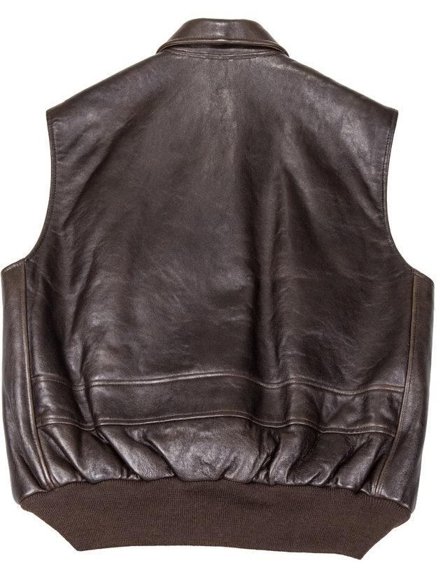 Blouson en cuir sans manche The Stearman Leather Vest AVIREX