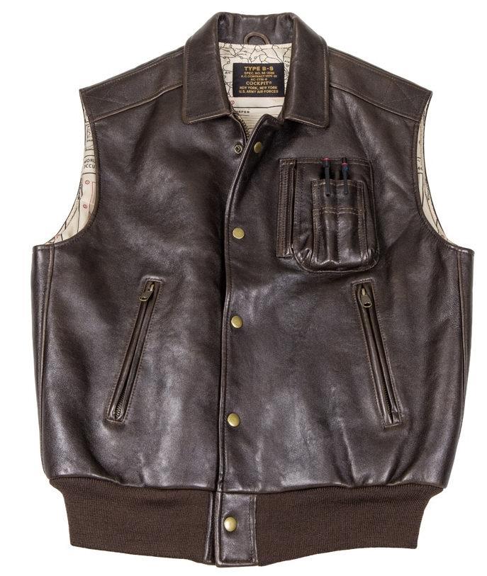 Blouson en cuir sans manche The Stearman Leather Vest COCKPIT - AVIREX