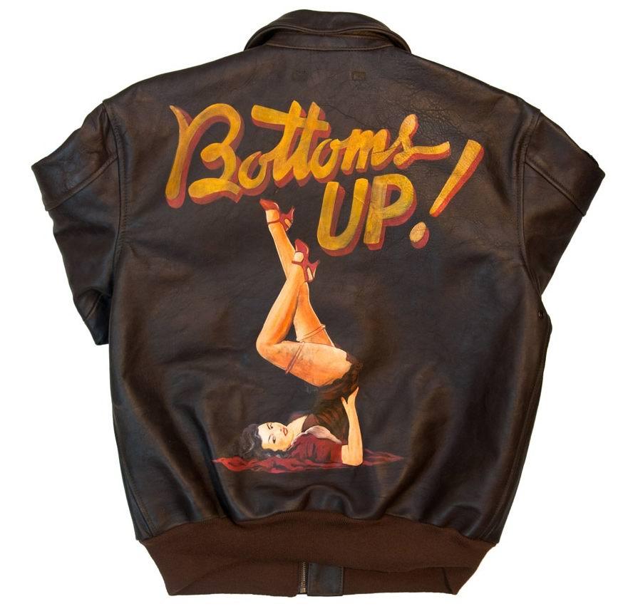 blouson cuir Pin up 40ème anniversaire A-2 Bottoms Up