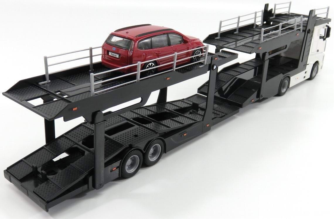 Camion MERCEDES Actros en Métal Avec Remorque Porte Voitures 1/43 45 cm FORD Focus en Métal 1/43