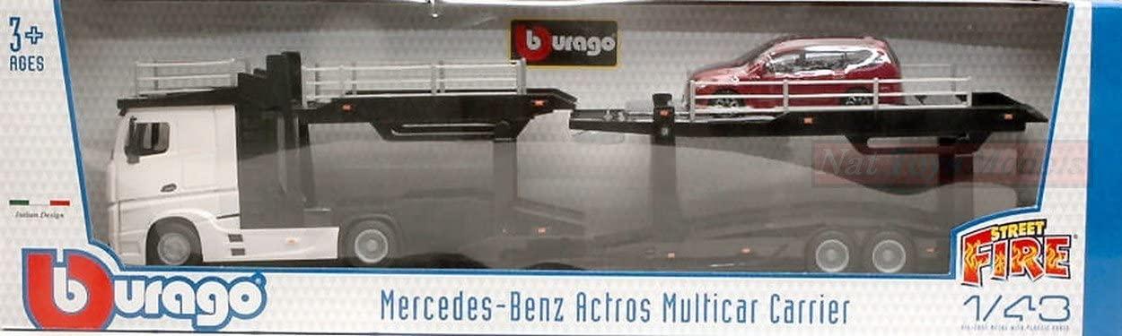 Camion MERCEDES Actros transport autos en Métal Avec Remorque Porte Voitures 1/43 FORD Focus en Métal 1/43