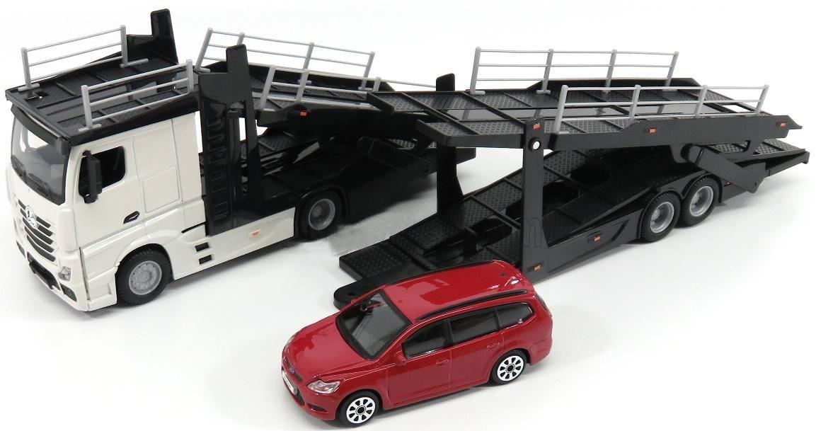 Camion MERCEDES Actros en Métal Avec Remorque Porte autos 1/43 45 cm FORD Focus en Métal 1/43