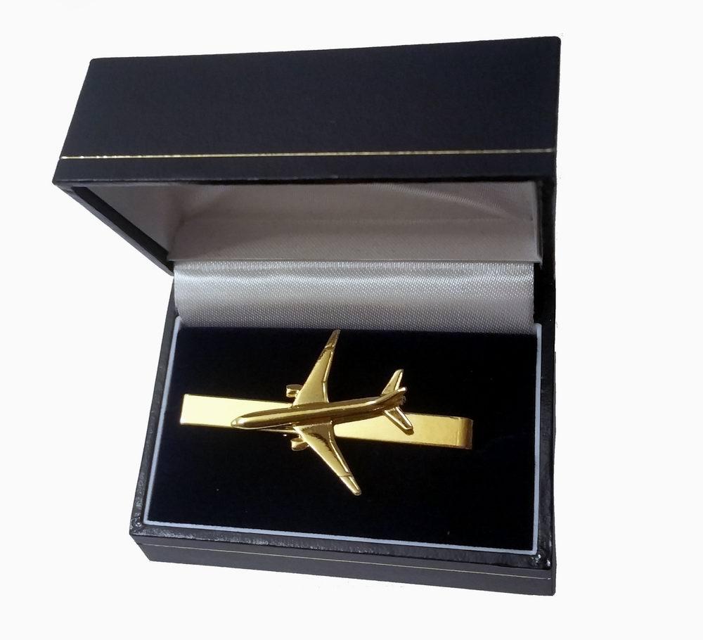 Pince à cravate Boeing 777 dorée