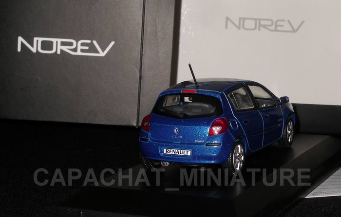 Voiture miniature Renault Clio3 bleue Ottoman NOREV 1/43