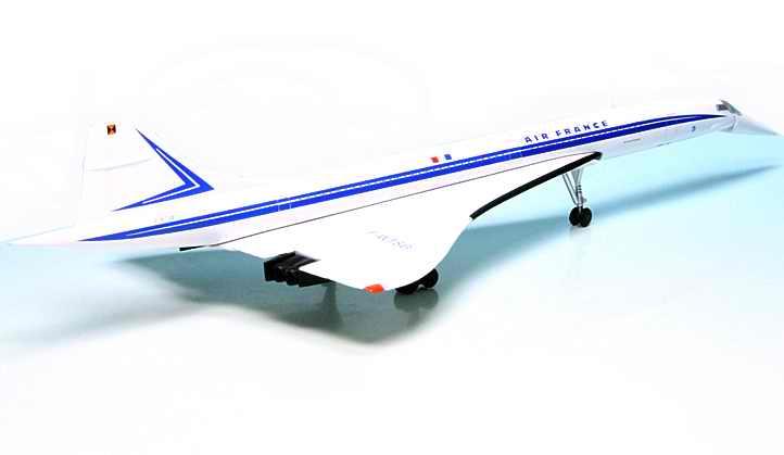 Maquette Concorde Air France 1/250 Test livery F-WTSB en métal nez mobile Schuco