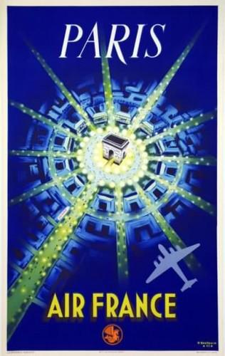 Affiche Air20France Paris Baudouin 1947