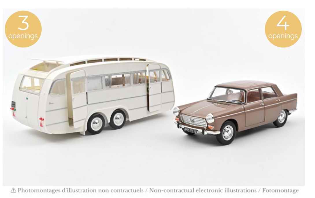 Voiture Miniature PEUGEOT 404 de 1965 Marron Métallisé avec Caravane Hénon NOREV 1/18